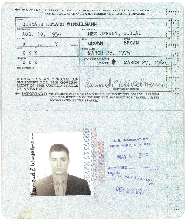 Bernie Winklemann Passport - pages 1 and 2