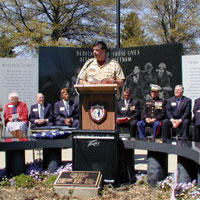 Ken Lock giving speech at Iowa Vietnam Memorial
