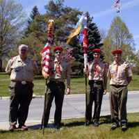 Boy Scouts of America Honor Guard: Color Guard for LCpl Judge's Memorial Service LCpl Judge was a Eagle Scout. The Scout Master to the left also was LCpl Judge's Scout Master.
